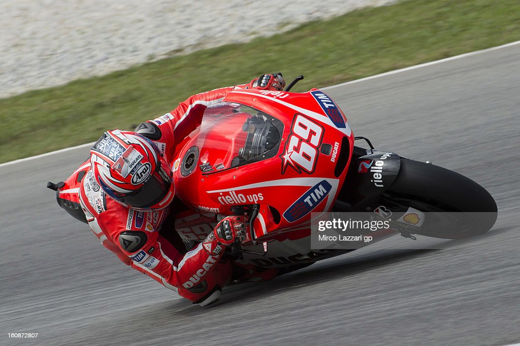 Nicky Hayden of USA and Ducati Marlboro Team rounds the bend during the MotoGP Tests in Sepang - Day Five at Sepang Circuit on February 7, 2013 in Kuala Lumpur, Malaysia.