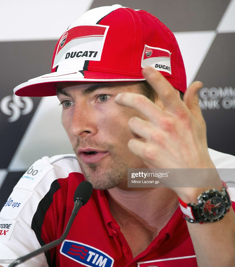 <a gi-track='captionPersonalityLinkClicked' href=/galleries/search?phrase=Nicky+Hayden+-+Motorcycle+Racer&family=editorial&specificpeople=227346 ng-click='$event.stopPropagation()'>Nicky Hayden</a> of USA and Ducati Marlboro Team speaks during the press conference pre-event during MotoGp of Qatar at Losail Circuit on April 3, 2013 in Doha, Qatar.
