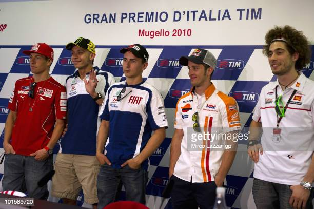 Nicky Hayden of USA and Ducati Marlboro Team Valentino Rossi of Italy and Fiat Yamaha Team Jorge Lorenzo of Spain and Fiat Yamaha Team Andrea...
