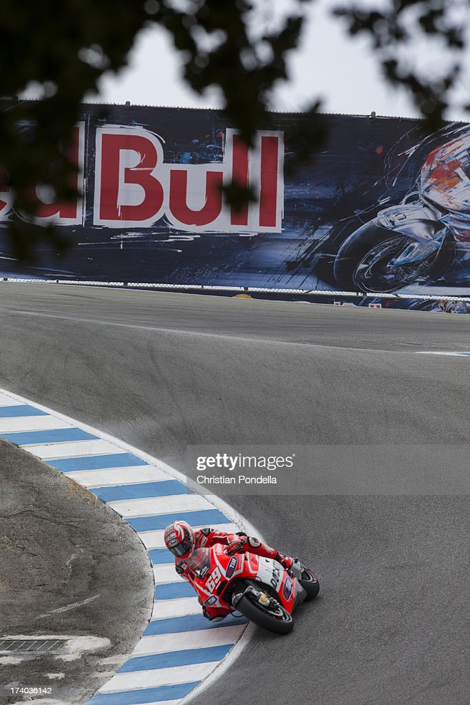 <a gi-track='captionPersonalityLinkClicked' href=/galleries/search?phrase=Nicky+Hayden+-+Motorcoureur&family=editorial&specificpeople=227346 ng-click='$event.stopPropagation()'>Nicky Hayden</a> of USA and Ducati Team rounds the corner at the MotoGP race of Red Bull U.S. Grand Prix at Mazda Raceway Laguna Seca on July 19, 2013 in Monterey, California.