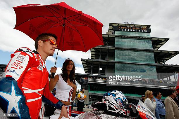 Nicky Hayden rider of the Ducati Team on the starting grid prior to the MotoGP Red Bull Indianapolis Grand Prix at the Indianapolis Motor Speedway on...