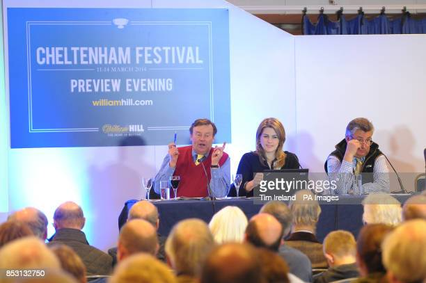 Nicky Henderson Kate Miller and Paul Nicholls during the William Hill Cheltenham Festival Preview Evening following the the William Hill Imperial Cup...