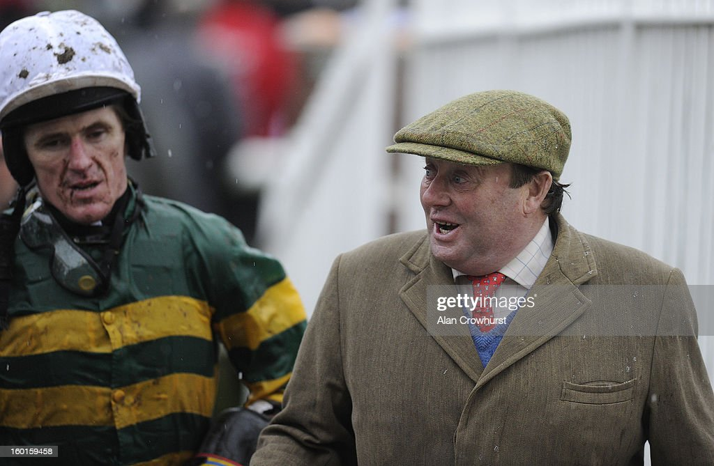 Nicky Henderson returns with Tony McCoy at Leopardstown racecourse on January 27, 2013 in Dublin, Ireland.