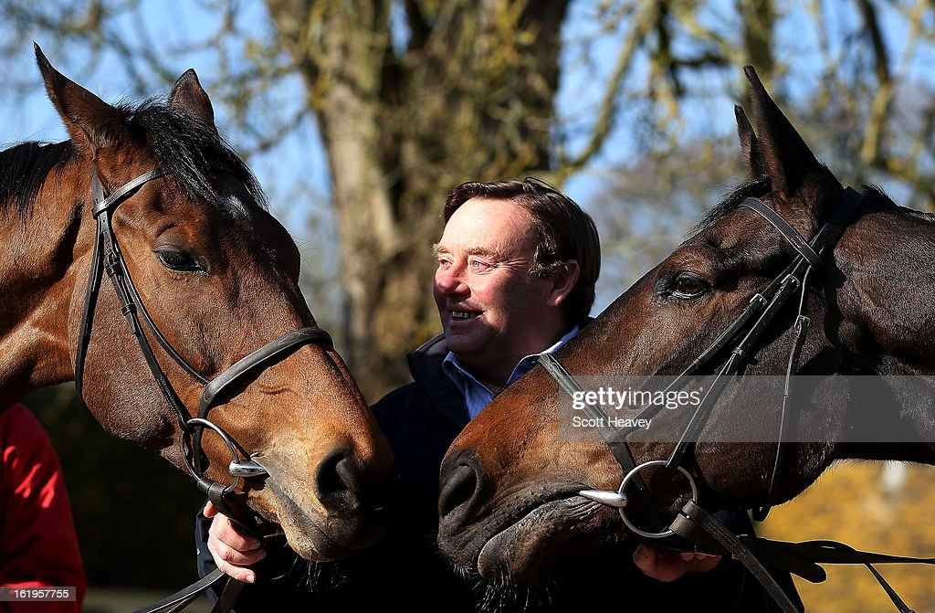 Nicky Henderson with Bobs Worth (L) and Long Run during a stable visit to Seven Barrows on February 18, 2013 in Lambourn, England.