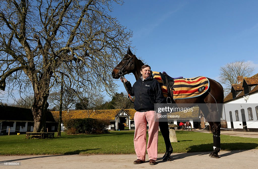 Nicky Henderson with Grandouet during a stable visit to Seven Barrows on February 18, 2013 in Lambourn, England.