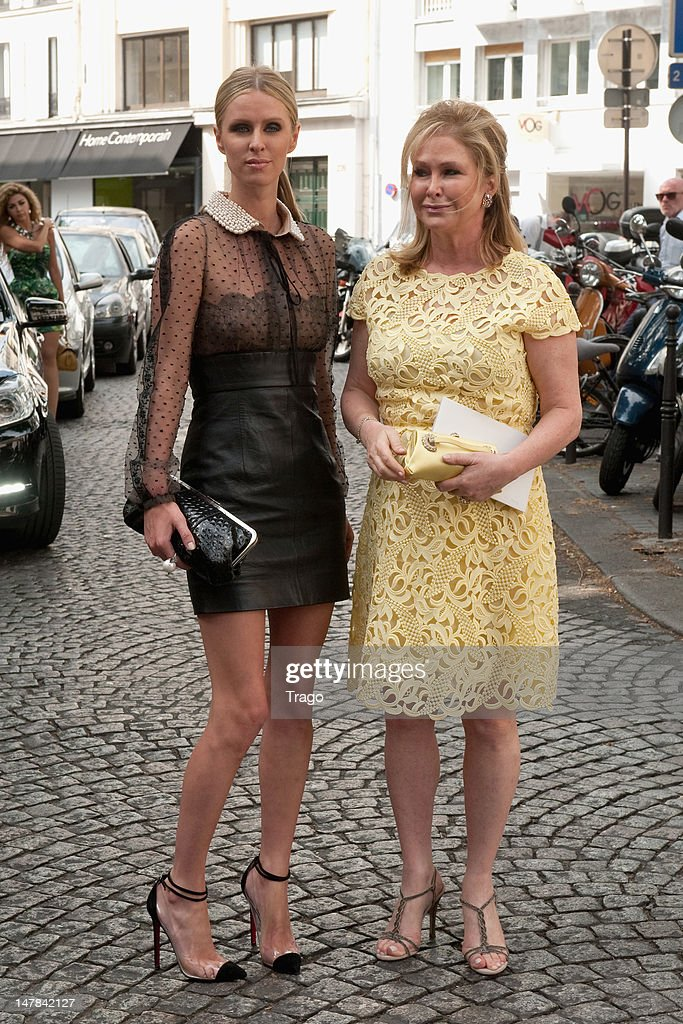 Nicky Hilton and <a gi-track='captionPersonalityLinkClicked' href=/galleries/search?phrase=Kathy+Hilton&family=editorial&specificpeople=209306 ng-click='$event.stopPropagation()'>Kathy Hilton</a> attends the Valentino Haute-Couture Show as part of Paris Fashion Week Fall / Winter 2013 at Hotel Salomon de Rothschild on July 4, 2012 in Paris, France.