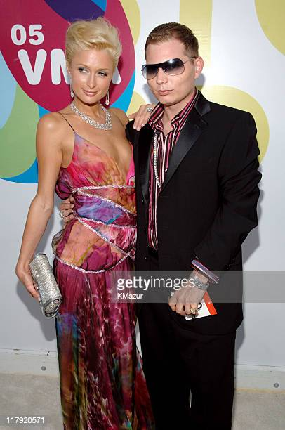Nicky Hilton and Scott Storch during 2005 MTV Video Music Awards White Carpet at American Airlines Arena in Miami Florida United States