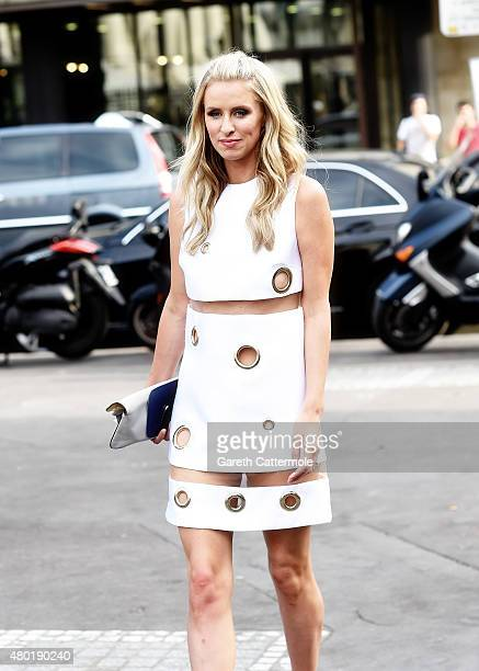 Nicky Hilton arrives at the Versace show as part of Paris Fashion Week HauteCouture Fall/Winter 2015/2016 on July 5 2015 in Paris France