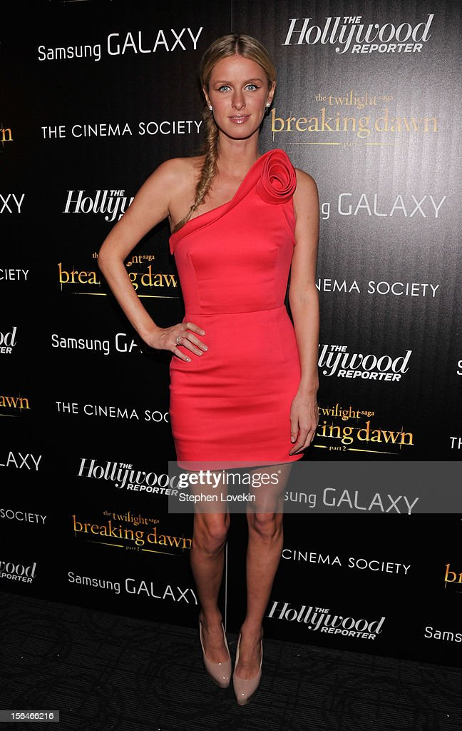 <a gi-track='captionPersonalityLinkClicked' href=/galleries/search?phrase=Nicky+Hilton+-+Born+1983&family=editorial&specificpeople=11520989 ng-click='$event.stopPropagation()'>Nicky Hilton</a> attends The Cinema Society with The Hollywood Reporter & Samsung Galaxy screening of 'The Twilight Saga: Breaking Dawn Part 2' on November 15, 2012 in New York City.