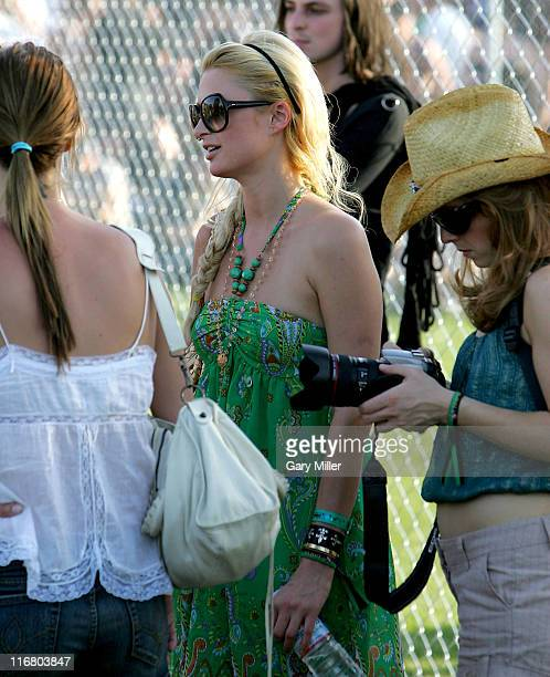 Nicky Hilton Paris Hilton and guest during Coachella Valley Music and Arts Festival Day 3 Sightings at Empire Polo Field in Indio California United...