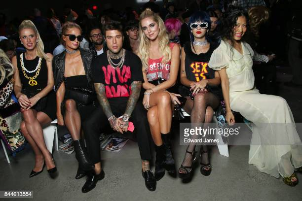 Nicky Hilton Paris Hilton Fedez and Chiara Ferragni attend the Jeremy Scott fashion show during New York fashion week on September 8 2017 in New York...