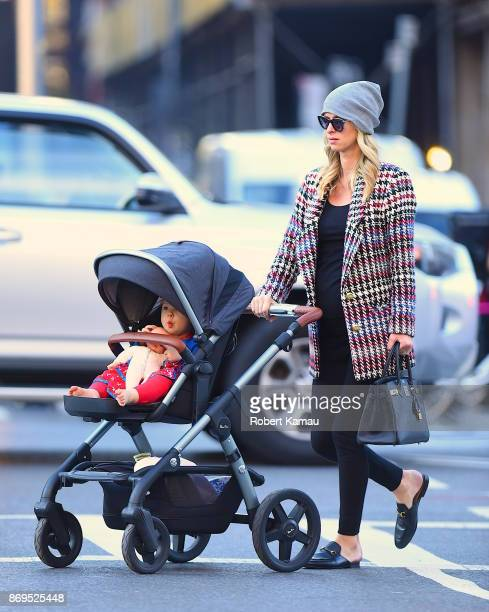 Nicky Hilton Rothschild and her newborn Lily Grace seen out walking in Manhattan on November 2 2017 in New York City