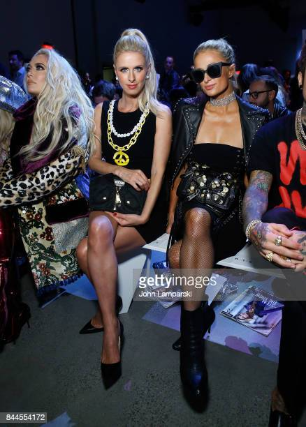 Nicky Hilton Rothschild and Paris Hilton attend Jeremy Scott collection during the September 2017 New York Fashion Week The Shows on September 8 2017...