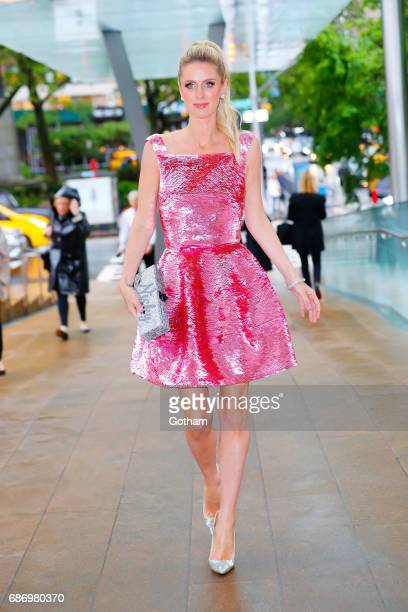 Nicky Hilton wears a shimmery pink dress when arriving at American Ballet Theater Opening night at Lincoln Center