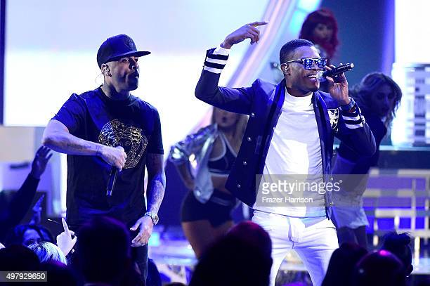 Nicky Jam and Omi onstage during the 16th Latin GRAMMY Awards at the MGM Grand Garden Arena on November 19 2015 in Las Vegas Nevada