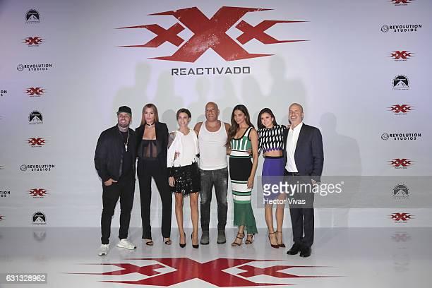 Nicky Jam Ariadna Gutierrez Ruby Rose Vin Diesel Deepika Padukone Nina Dobrev and D J Caruso pose during xXx Return of Xander Cage Mexico Photocall...