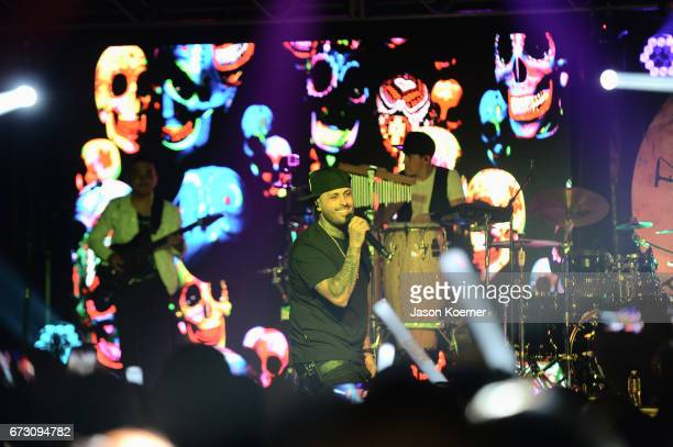 Nicky Jam performs during Pandora Noche De Musica at Ice Palace Films Studios on April 25 2017 in Miami Florida