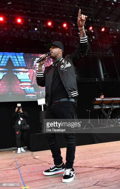 Nicky Jam performs onstage during 1035 KTU's KTUphoria 2017 presented by ATT at Northwell Health at Jones Beach Theater on June 3 2017 in Wantagh New...