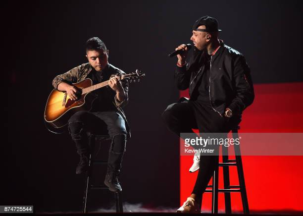 Nicky Jam performs onstage during rehearsals for the 18th annual Latin Grammy Awards at MGM Grand Garden Arena on November 15 2017 in Las Vegas Nevada
