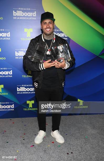 Nicky Jam poses backstage during the Billboard Latin Music Awards at Watsco Center on April 27 2017 in Coral Gables Florida