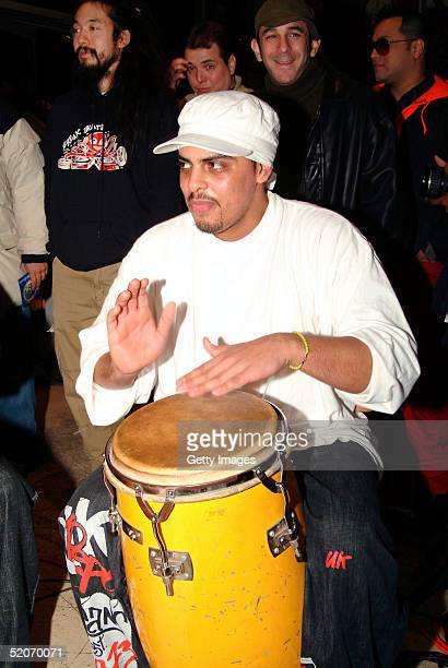 Nicky Laboy plays the Bongos at the instore performance at Virgin Records January 26 2005 in New York City