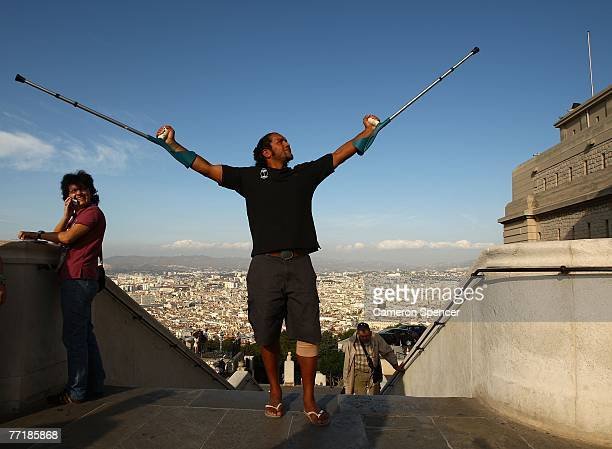 Nicky Little of Fiji poses during a Fiji team visit to Basilique NotreDame de la Garde on October 4 2007 in Marseille France