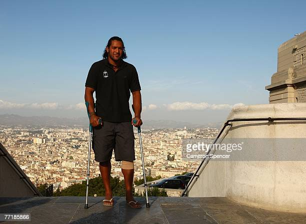 Nicky Little of Fiji poses for a photo during a Fiji team visit to Basilique NotreDame de la Garde on October 4 2007 in Marseille France