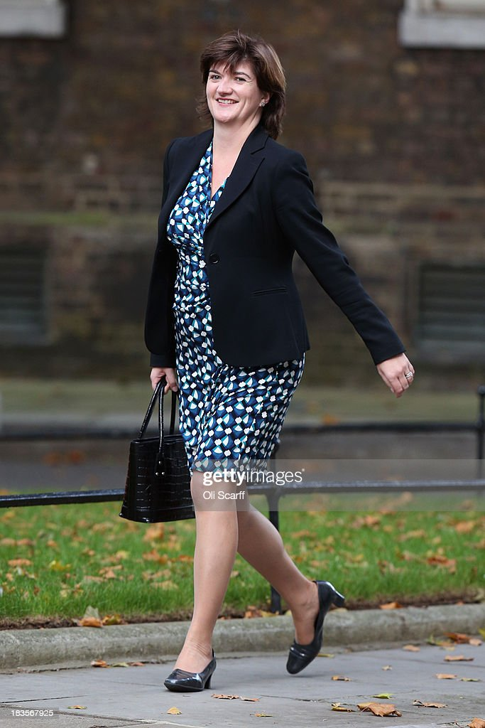 Nicky Morgan MP arrives at Number 10 Downing Street on October 7 2013 in London England Ms Morgan has been appointed economic secretary to The...