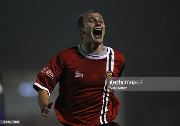 Nicky Platt of FC United of Manchester celebrates after scoring the opening goal during the FA Cup 1st Round match sponsored by eon at Spotland...