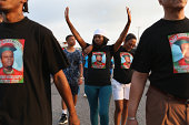 Nicky Rivers and her mother Alison McSpadden the aunt of Michael Brown make their voices heard as they walk through the streets on August 17 2014 in...
