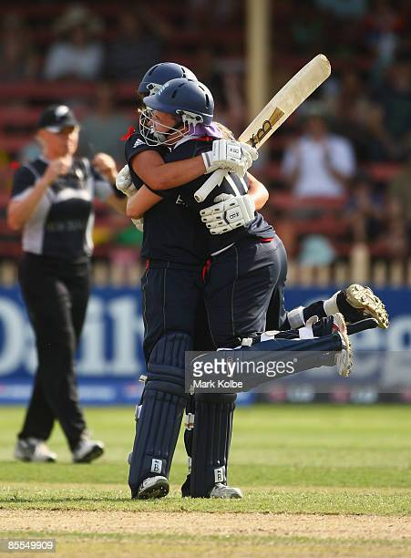 Nicky Shaw and Holly Colvin of England celebrate after winning the ICC Women's World Cup 2009 final match between England and New Zealand at North...