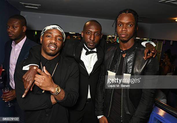 Nicky Slimting Walker Poses with Krept Konan attends the UK Premiere of 'The Intent' at Cineworld Haymarket on July 25 2016 in London England