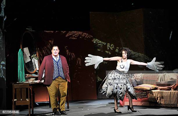 Nicky Spence as Alwa and Brenda Rae as Lulu in English National Opera's production of Alban Berg's 'Lulu' directed and designed by William Kentridge...