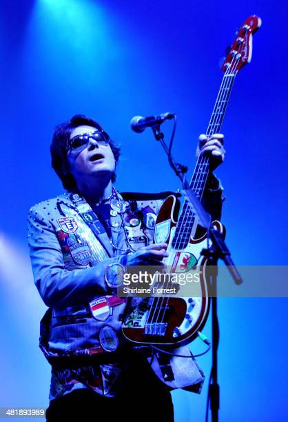 Nicky Wire of Manic Street Preachers performs at 02 Apollo Manchester on April 1 2014 in Manchester England