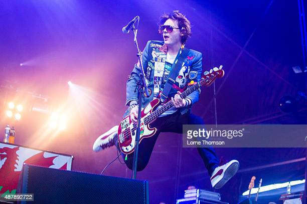 Nicky Wire of Manic Street Preachers performs on the Main Stage at Blackheath Common on September 12 2015 in London England