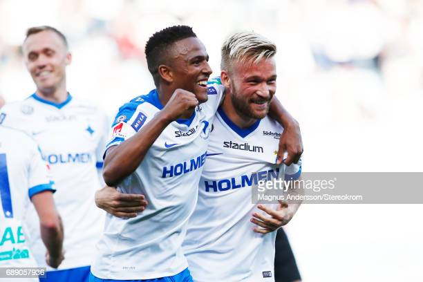 Niclas Eliasson and Nicklas Barkroth of IFK Norrkoping celebrates after score 21 during the Allsvenskan match between IFK Norrkoping and Halmstad BK...