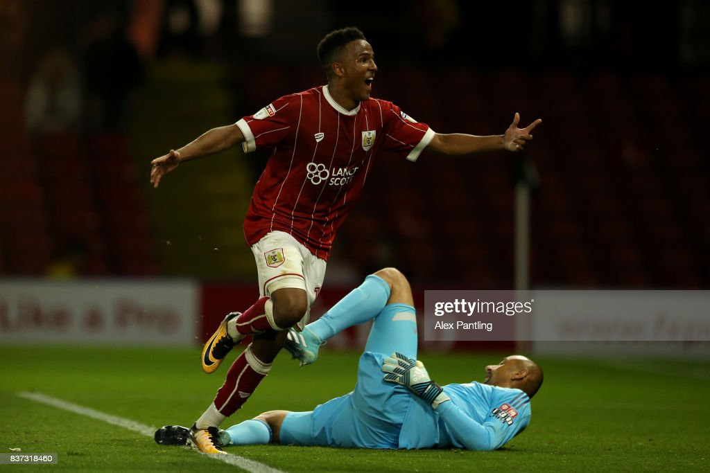 Niclas Eliasson of Bristol City celebrates scoring the third goal during the Carabao Cup Second Round match between Watford and Bristol City at Vicarage Road on August 22, 2017 in Watford, England.