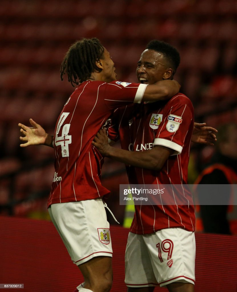Niclas Eliasson of Bristol City celebrates scoring the third goal with Bobby Reid during the Carabao Cup Second Round match between Watford and Bristol City at Vicarage Road on August 22, 2017 in Watford, England.