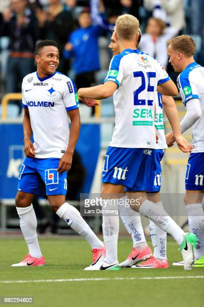 Niclas Eliasson of IFK Norrkoping celebrate his 20 goal during the Allsvenskan match between IFK Norrkoping and IFK Goteborg on June 4 2017 at...