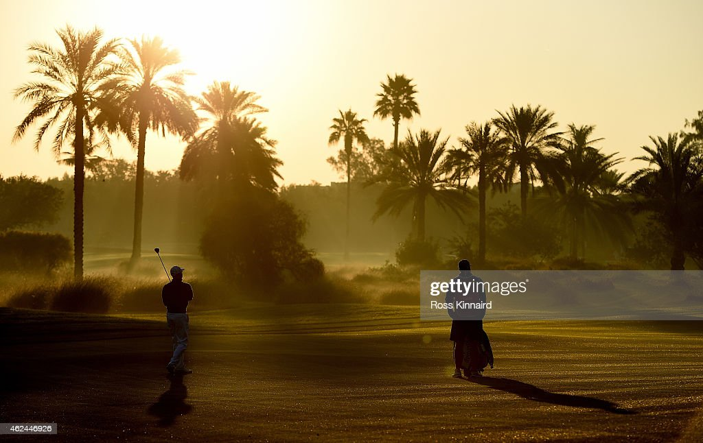 Niclas Fasth of Sweden on the par five 10th hole during the first round of the Omega Dubai Desert Classic at the Emirates Golf Club on January 29...