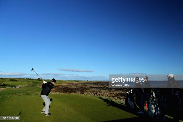 Niclas Fasth tees off on the 1st during day one of the 2017 Alfred Dunhill Championship at Kingsbarns on October 5 2017 in St Andrews Scotland