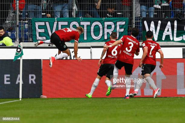 Niclas Fuellkrug Marvin Bakalorz Miiko Albornoz and Edgar Prib of Hannover celebration the Goal 10 during the Second Bundesliga match between...