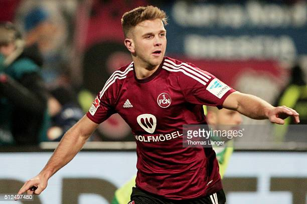 Niclas Fuellkrug of Nuernberg celebrates after scoring his team's second goal during the Second Bundesliga match between 1 FC Nuernberg and Greuther...