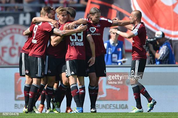 Niclas Fuellkrug of Nuernberg celebrates after scoring the opening/first goal during the Second Bundesliga match between 1 FC Nuernberg and FC St...
