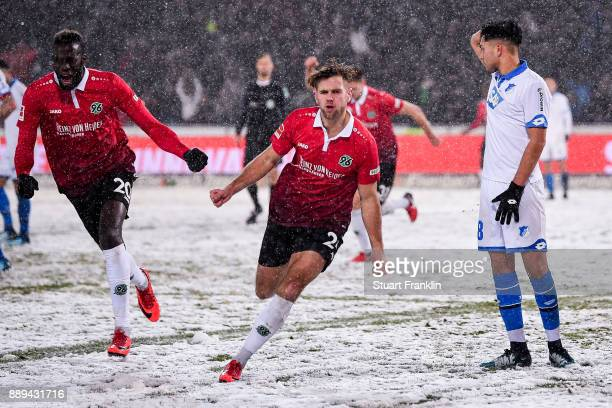 Niclas Fullkrug of Hannover 96 celebrates after scoring his team's first goal to make it 10 during the Bundesliga match between Hannover 96 and TSG...