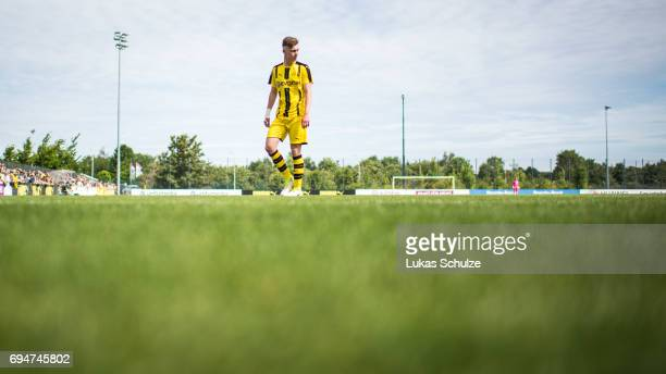 Niclas Knoop of Dortmund has to leave the pitch after a red card during the B Juniors German Championship Semi Final match between Borussia Dortmund...