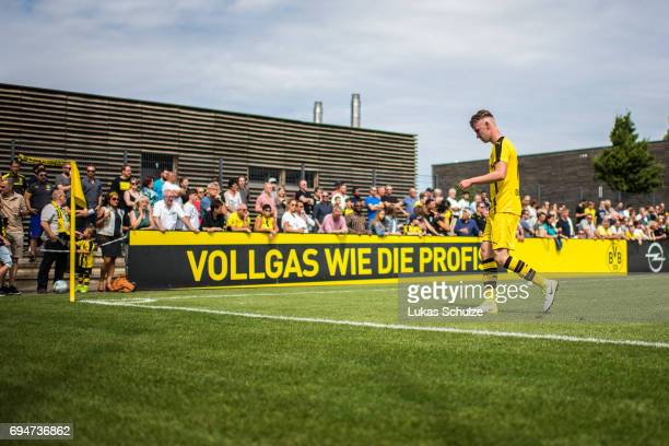 Niclas Knoop of Dortmund leaves the pitch after getting a red card during the B Juniors German Championship Semi Final match between Borussia...