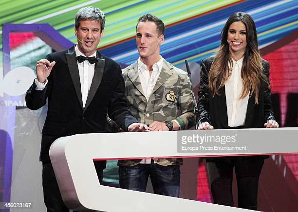 Nico Abad Pol Espargaro and Melissa Jimenez attend '40 Principales Award' Gala at Palacio de los Deportes on December 12 2013 in Madrid Spain
