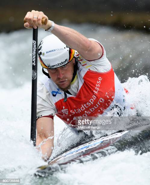 Nico Bettge of Germany competes during the Canoe Single Men's Semifinal of the ICF Canoe Slalom World Cup on June 25 2017 in Augsburg Germany