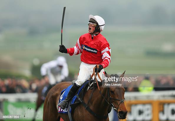 Nico de Boinville on Coneygree celebrates winning the Betfred Cheltenham Gold Cup Chase at the Cheltenham Festival at Cheltenham Racecourse on March...